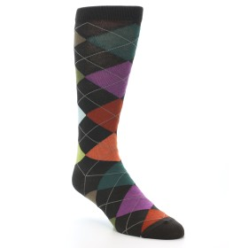 20098-Brown-Red-Orange-Blue-Argyle-Men's-Dress-Socks01