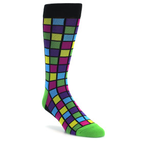 20825-purple-pink-green-mosaic-squares-mens-dress-sock-foot-traffic01