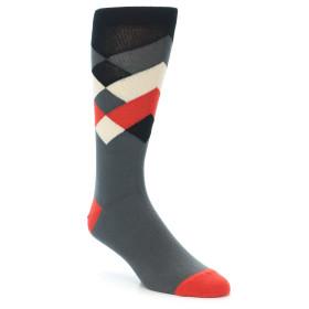 21159-Grey-Black-Red-White-Diamond-Stripe-Men's-Dress-Socks-Ballonet-Socks01