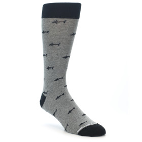 21295-Grey-Shark-Pattern-Men's-Dress-Socks-Unsimply-Stitched01