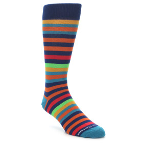 21357-Blue-Orange-Multi-Color-Stripe-Men's-Dress-Socks-Unsimply-Stitched01