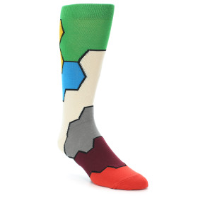 21412-multi-color-honeycomb-pattern-men's-dress-socks-ballonet-socks01