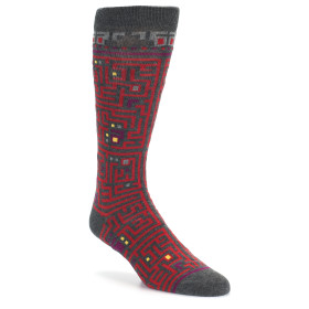 21422-grey-red-maze-pattern-men's-dress-socks-ozone-socks01