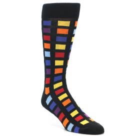21465-Black-Multi-Colored-Checkered-Men's-Dress-Socks-MoxyMaus01