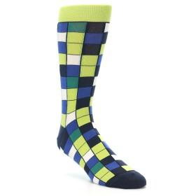 21569-lime-blue-white-checkered-men's-dress-socks-statement-sockwear01