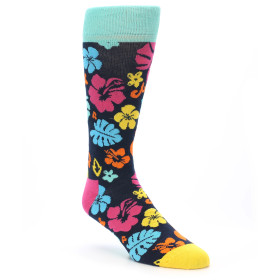 21585-Navy-Multi-Color-Hawaiian-Floral-Men's-Dress-Socks-Happy-Socks01