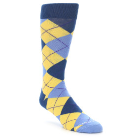 21618-Yellow-Blues-Argyle-Men's-Dress-Socks-Unsimply-Stitched01