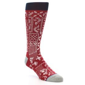 21700-red-white-bandana-pattern-men's-casual-socks-stance01