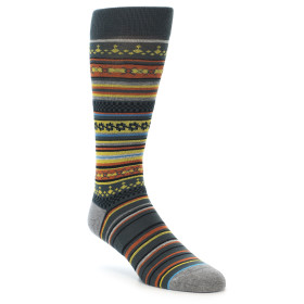 21701-Grey-Yellow-Orange-Stripe-Pattern-Men's-Casual-Socks-STANCE01