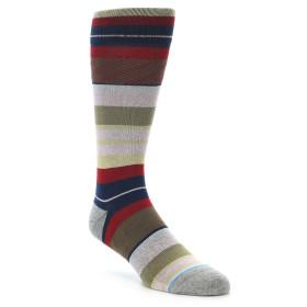 21703-red-navy-tan-stripe-men's-casual-socks-stance01