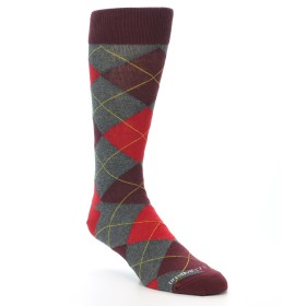21735-Grey-Red-Maroon-Argyle-Men's-Dress-Socks-Unsimply-Stitched01