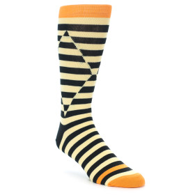 21804-Cream-Black-Optical-Stripes-Men's-Dress-Socks-Ballonet-Socks01