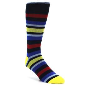 21811-Navy-Blue-Yellow-Stripe-Men's-XL-Dress-Socks-Vannucci01