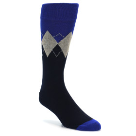 21812-Navy-Blue-Tan-Argyle-Men's-XL-Dress-Socks-Vannucci01