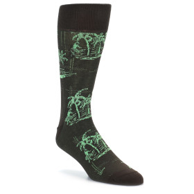 21819-Brown-Green-Tropical-Men's-Dress-Socks-Original-Penguin01