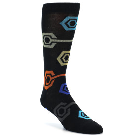 21856-Black-Multi-Color-Hexagon-Men's-Dress-Socks-K.-Bell-Socks01