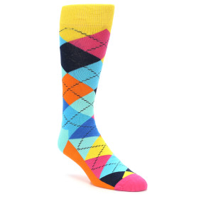 21859-Blues-Yellow-Pink-Argyle-Men's-Dress-Socks-Happy-Socks01