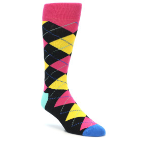 21860-Black-Yellow-Pink-Argyle-Men's-Dress-Socks-Happy-Socks01