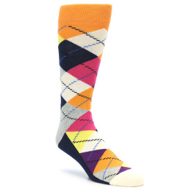 21861-Orange-Purple-Pink-Argyle-Men's-Dress-Socks-Happy-Socks01