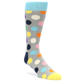 21863-Grey-Multi-Color-Polka-Dot-Men's-Dress-Socks-Happy-Socks01