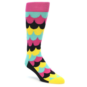 21867-Multi-Color-Scalloped-Stripes-Men's-Dress-Socks-Happy-Socks01