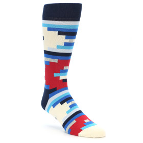 21870-Blue-White-Red-Partial-Stripes-Men's-Dress-Socks-Happy-Socks01
