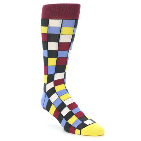 21896-Blues-Yellow-Red-Checkered-Men's-Dress-Socks-Statement-Sockwear01