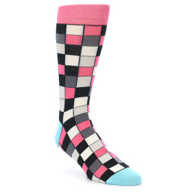 21898-Bright-Pink-Grey-Black-Checkered-Men's-Dress-Socks-Statement-Sockwear01