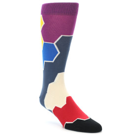 21918-Grey-Purple-Red-Blue-Honeycomb-Men's-Dress-Socks-Ballonet-Socks01
