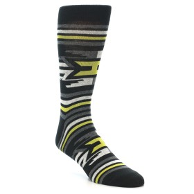 21919-Black-Grey-Yellow-Stripe-Pattern-Men's-Dress-Socks-Richer-Poorer01