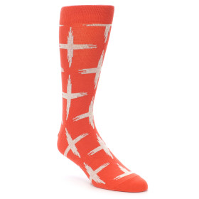 21920-Orange-White-Cross-Pattern-Men's-Dress-Socks-Richer-Poorer