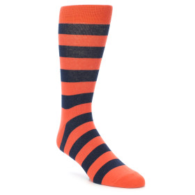 21923-Orange-Navy-Stripe-Men's-Dress-Socks-Richer-Poorer