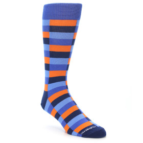 21935-Orange-Navy-Blue-Checkered-Men's-Dress-Sock-Unsimply-Stitched01