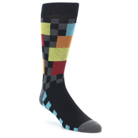 21952-Grey-Black-Multi-Color-Checkered-Men's-Dress-Socks-Yo-Sox01