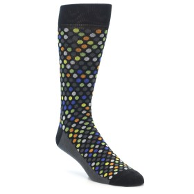 21958-Black-Multi-Color-Polka-Dots-Men's-Dress-Socks-Yo-Sox01