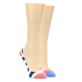 21968-Pink-Navy-Stripe-Women's-No-See-Um-2-Pack-Socks-PACT01