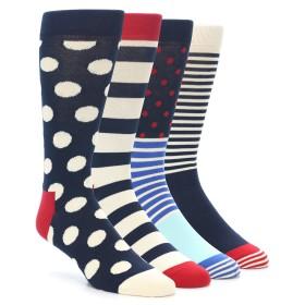 21982-Red-Navy-White-Men's-Dress-Socks-Gift-Box-4-Pack-Happy-Socks01