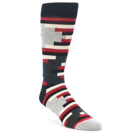 21989-Black-Grey-Red-Partial-Stripes-Mens-Dress-Socks-Happy-Socks01