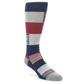 22003-Navy-Red-Grey-Block-Stripe-Mens-Casual-Socks-STANCE01