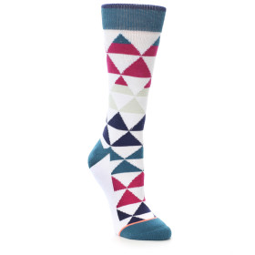22008-White-Pink-Blue-Triangles-Womens-Casual-Sock-STANCE01