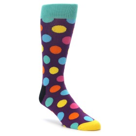 22178-Purple-Multi-Color-Polka-Dot-Mens-Dress-Socks-Happy-Socks01