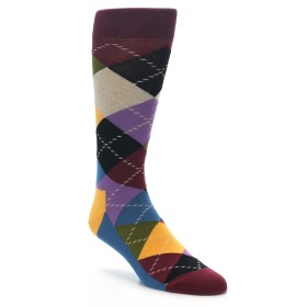 22196-Brown-Gold-Multi-Color-Argyle-Mens-Dress-Socks-Happy-Socks01