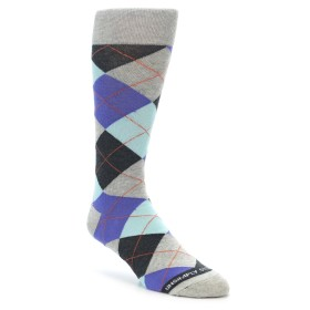 Grey and Purple Argyle Socks