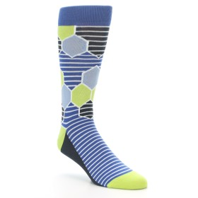 Blue Hexagon Pattern Socks - Statement Sockwear