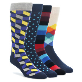 Happy Socks Blue Yellow Gift Box 4 Pack Men's