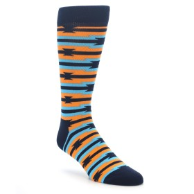 Happy Socks Barb Wire Stripe Blue and Orange for Men
