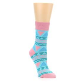 22391-Pink-Blue-Green-Aztek-Womens-Dress-Socks-Good-Luck-Sock01