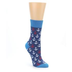 22399-Navy-White-Nautical-Anchors-Womens-Dress-Socks-Good-Luck-Sock01