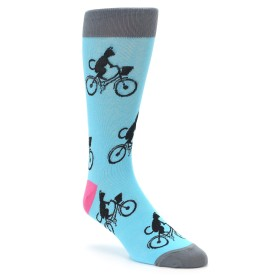 Teal Cat Riding Bike Socks for Men