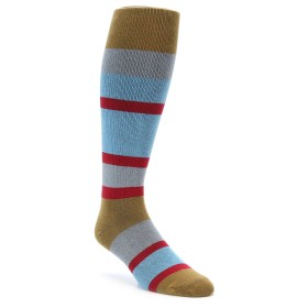zKano Brown Blue Over the Calf Men's Socks